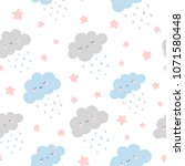 cute clouds with rain drops... | Shutterstock .eps vector #1071580448
