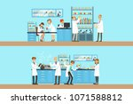 chemists in the chemical... | Shutterstock .eps vector #1071588812