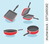 frying pan vector set. a set of ... | Shutterstock .eps vector #1071600182