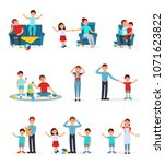 tired parents and their... | Shutterstock .eps vector #1071623822