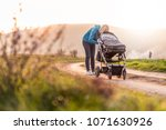 young mummy carries a baby... | Shutterstock . vector #1071630926