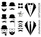 men's tuxedo. mustache  glasses ... | Shutterstock .eps vector #1071633128