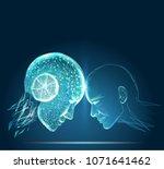 humans vs robots. ai artificial ... | Shutterstock .eps vector #1071641462
