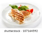 grilled chicken breasts and... | Shutterstock . vector #107164592
