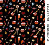 candy doodle. seamless pattern... | Shutterstock . vector #1071654455
