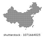 china map vector. map dotted... | Shutterstock .eps vector #1071664025