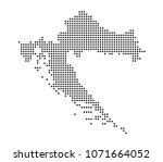 croatia map vector. map dotted... | Shutterstock .eps vector #1071664052