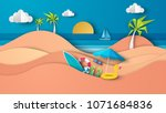 sea view in summer with water... | Shutterstock .eps vector #1071684836