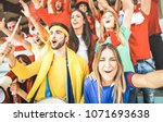young football supporter... | Shutterstock . vector #1071693638