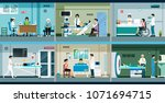 the doctors are treating and... | Shutterstock .eps vector #1071694715