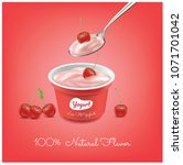 cherries yogurt cup... | Shutterstock .eps vector #1071701042