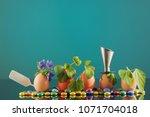five organic seedling plants in ... | Shutterstock . vector #1071704018