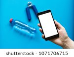 smartphone with white screen in ... | Shutterstock . vector #1071706715