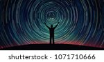 man silhouette on a night sky... | Shutterstock . vector #1071710666