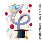 graduation card with hat and...   Shutterstock .eps vector #1071715238