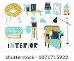 trendy style interior. hand... | Shutterstock .eps vector #1071715922