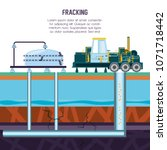 oil industry with fracking... | Shutterstock .eps vector #1071718442