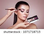 makeup artist applies eye... | Shutterstock . vector #1071718715