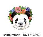 panda in flowers diadem | Shutterstock . vector #1071719342