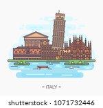 famous landmarks of italy for... | Shutterstock .eps vector #1071732446