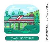 modern train on railroad ... | Shutterstock .eps vector #1071732452