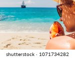 sun cream protection. woman...   Shutterstock . vector #1071734282