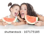 beautiful smiling mother and... | Shutterstock . vector #107175185