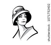 woman face portrait with hat....   Shutterstock .eps vector #1071752402