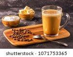 bulletproof coffee  blended...   Shutterstock . vector #1071753365