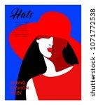 abstract female portrait in hat.... | Shutterstock .eps vector #1071772538