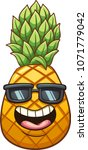 happy cartoon pineapple. vector ... | Shutterstock .eps vector #1071779042