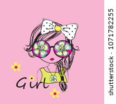 cut girl with sunglasses vector ... | Shutterstock .eps vector #1071782255