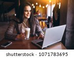 business woman with laptop and... | Shutterstock . vector #1071783695