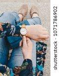 street style fashion details.... | Shutterstock . vector #1071786902