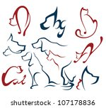 Stock vector cats and dogs vector collection of pets silhouettes 107178836