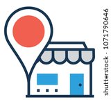 store location flat and line... | Shutterstock .eps vector #1071790646