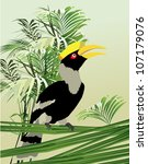 tropical plants and birds ... | Shutterstock .eps vector #107179076