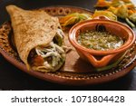 mexican quesadillas with squash ... | Shutterstock . vector #1071804428