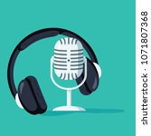 flat concept of podcasting... | Shutterstock .eps vector #1071807368