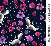 beautiful tender swans  crane ... | Shutterstock . vector #1071812585