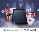 phone with poker casino chips...   Shutterstock . vector #1071819668