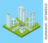 the modern city quarter is... | Shutterstock .eps vector #1071820112