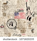statue of liberty.  vintage... | Shutterstock .eps vector #1071820235