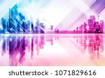 city skyline silhouette at... | Shutterstock . vector #1071829616