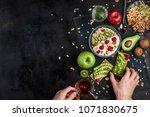 a healthy breakfast of cereals  ... | Shutterstock . vector #1071830675