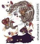 portrait of a moth girl. girl... | Shutterstock .eps vector #1071832955