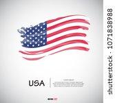 flag of usa with  brush stroke  ...   Shutterstock .eps vector #1071838988