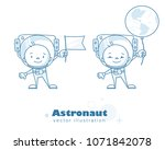funny astronaut characters with ... | Shutterstock .eps vector #1071842078