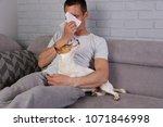 man having pet allergy symptoms ...   Shutterstock . vector #1071846998