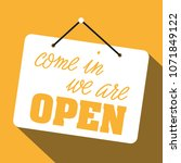 sign saying we are open on... | Shutterstock .eps vector #1071849122